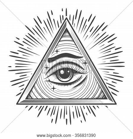 All Seeing Eye In Triangle. Freemasonry Occult Symbol In Engraving Style. Vector Illustration