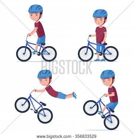 Boy Riding A Bmx Bike. Vector Illustration Set Cartoon Kid In A Helmet Drives A Small Children Bicyc