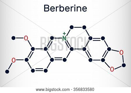 Berberine C20h18no4, Herbal Alkaloid Molecule. Structural Chemical Formula