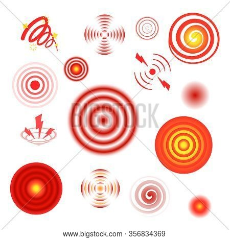Pain Circles. Healthcare Red Stylized Graphic Symbols Hurts Anguish Throbbing Vector Visualization