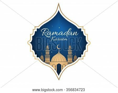 Happy Ramadan Mubarak Greeting Concept With People Character For Web Landing Page Template. Suitable