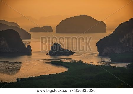 Beautiful Seascape View Of Phang-nga, Unseen Place Called Samet Nangshe In Phang-nga Province With S