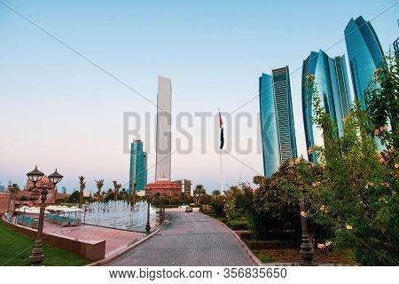 Abu Dhabi, United Arab Emirates - November 1, 2019: Abu Dhabi Downtown With Etihad Tower Skyscrapers