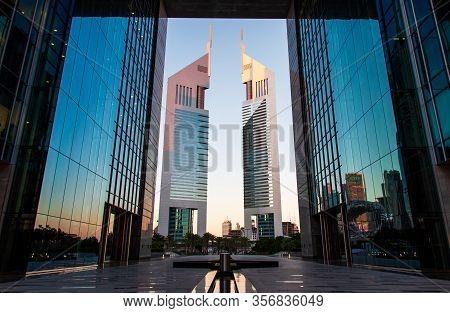 Dubai, United Arab Emirates - February 14, 2020: The Dubai International Financial Centre Difc And E