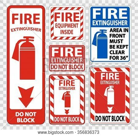 Fire Extinguisher Sign Symbol Sign Isolate On Transparent Background,vector Illustration