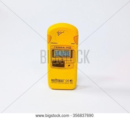 Chernobyl, Ukraine -  March 21, 2016: Dosimeter Measuring The Radiation Level. Chernobyl Nuclear Pow