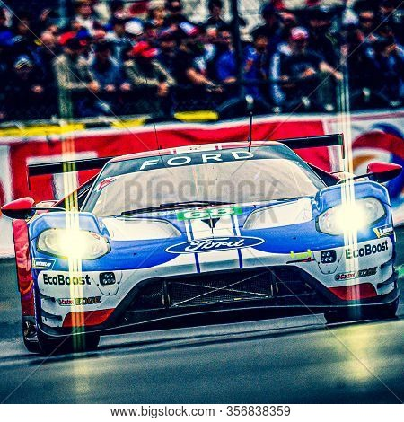 Le Mans / France - June 15-16 2019: 24 Hours Of Le Mans, Car Heating Tour Just Before Departure Of R