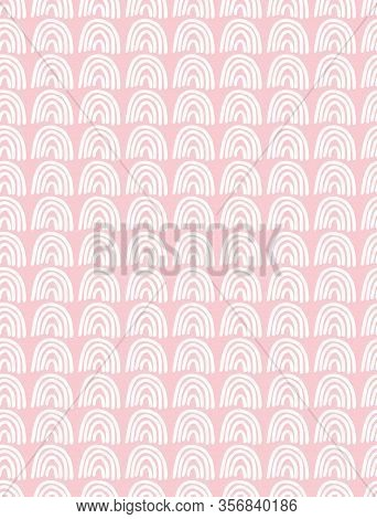 Cute Abstract Geometric Vector Pattern. White Arcs Isolated On A Light Pink Background. Funny Infant