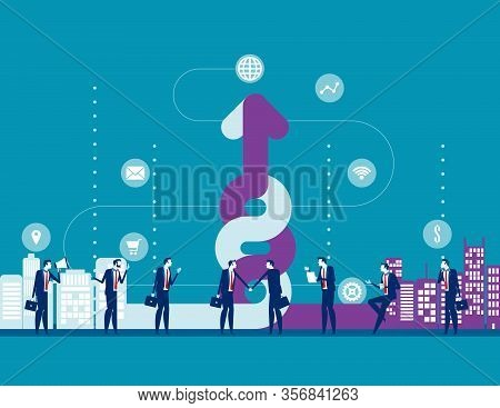 Company Fusion. Concept Business Summation Vector Illustration, Agreement, Flat Cartoon Character St
