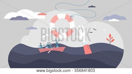 Crisis Help Vector Illustration. Economical Business Support Tiny Persons Concept. Government Money