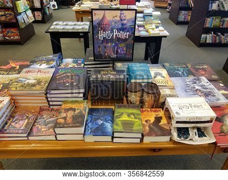 March 10, 2020, A Selection Of Harry Potter Books On Display In The Center Aisle Of A Barnes And Nob