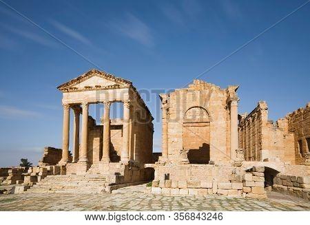 The Temples Of Minerva, Jupiter And Juno At The Forum Of Sufetula. Sbeitla, Tunisia.