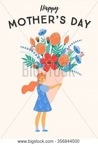 Happy Mothers Day. Vector Illustration Of Girl With Big Bouquet Of Flowers.