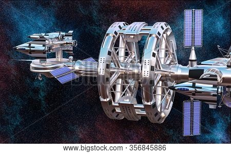Realistic 3d Illustration. Big Futuristic Spaceship Traveling In The Universe. Universe Military Spa