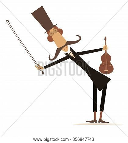 Cartoon Long Mustache Violinist Illustration. Smiling Mustache Man In The Top Hat With Violin And Fi