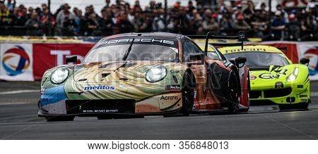 Le Mans / France - June 15-16 2019: 24 Hours Of Le Mans, Team Project 1team, Porsche 911 Rsr Lmgteam