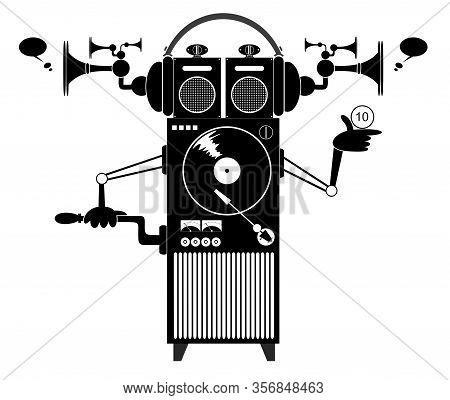 Cartoon Funny Jukebox Illustration. Funny Old Style Jukebox With Headphones Black On White