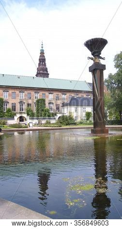 Copenhagen, Denmark - Jul 04th, 2015: Royal Library Gardens, Christiansborg Palace In Copenhagen, Sm