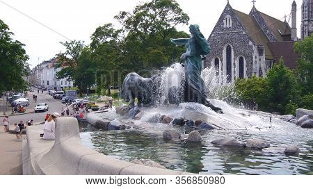 Copenhagen, Denmark - Jul 04th, 2015: View Of Famous Gefion Fountain Gefionspringvandet 1899 In Cope