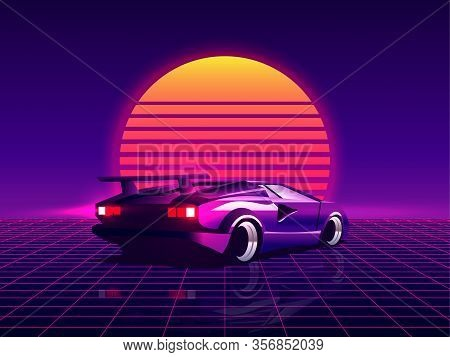 Retro Futuristic Back Side View 80s Supercar On Trendy Synthwave, Vaporwave, Cyberpunk Sunset Backgr