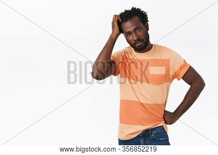 Troubled And Unsure Pretty African-american Bearded Guy Have No Idea How Thing Works, Scratching Hea
