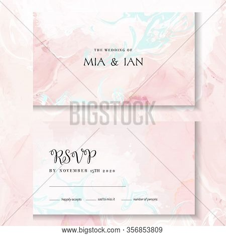 Blush Pink, White And Blue Watercolor Fluid Painting Vector Design Cards. Dusty Rose Marble Geode Fr