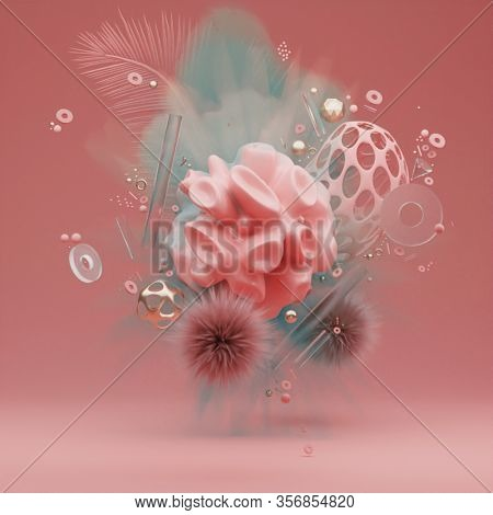 3d Trendy Abstract Levitating Composition With Geometric Shapes On Pastel Pink And Blue Background.