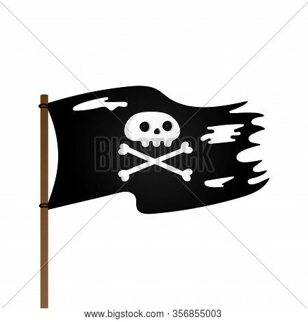 Pirate Flag With Jolly Rogeras Skull And Crossing Bones Flat Style Design Vector Illustration Isolat