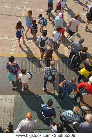 Burgazada, Turkey - September 18th 2019. Tourists Disembark The Ferry From Buyukada To Moda In Kadik