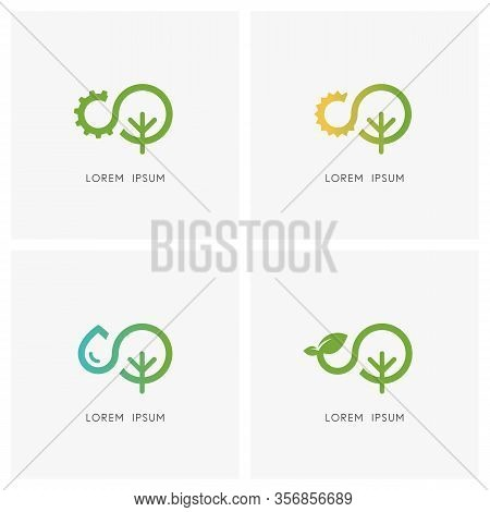 Nature Logo Set. Gear Wheel, Sun, Drop Of Water, Sprout With Leaves And Tree Or Plant Symbol - Ecolo