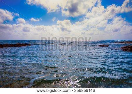 Beautiful Sea With Cloudy Sky. Non-urban Scene.