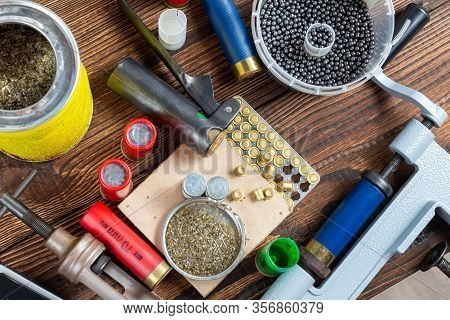 Shotgun Shells Reloading Process With Special Reload Equipment. Powder, Bullets, Fraction, Shells, B