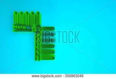 Green Indian Headdress With Feathers Icon Isolated On Blue Background. Native American Traditional H