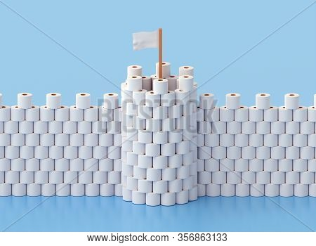 Building A Fortress With Tower Out Of Toilet Paper Due To Stress And Fear From A Coronavirus Epidemi