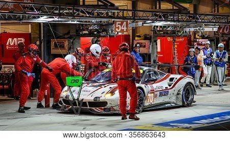 Le Mans / France - June 15-16 2019: 24 Hours Of Le Mans, Mr Racing Team , Ferrari 488 Gte Gteam In T