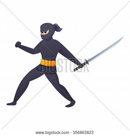 Ninja Attack Icon. Cartoon Of Ninja Attack Vector Icon For Web Design Isolated On White Background