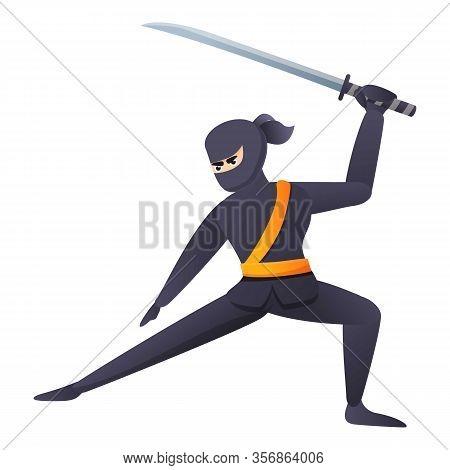 Samurai Fighter Icon. Cartoon Of Samurai Fighter Vector Icon For Web Design Isolated On White Backgr