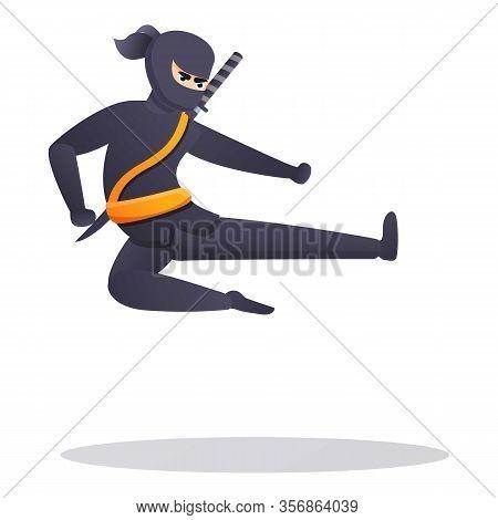 Karate Ninja Icon. Cartoon Of Karate Ninja Vector Icon For Web Design Isolated On White Background