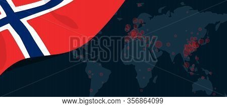 Corona Virus Covid-19 Pandemic Outbreak World Map Spread With Flag Of Norway Norwegian Illustration