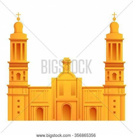 Mexican Cathedral Icon. Cartoon Of Mexican Cathedral Vector Icon For Web Design Isolated On White Ba