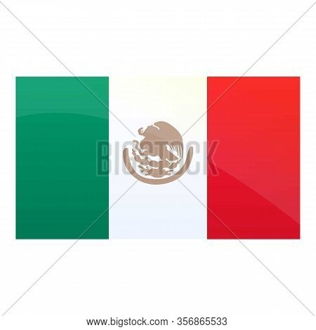 Mexican National Flag Icon. Cartoon Of Mexican National Flag Vector Icon For Web Design Isolated On