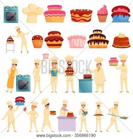 Confectioner Icons Set. Cartoon Set Of Confectioner Vector Icons For Web Design