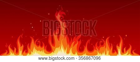 Vector Illustration Of A Hot Flame That Is Spreading. The Heat Of The Fire Blaze. Flame Background I