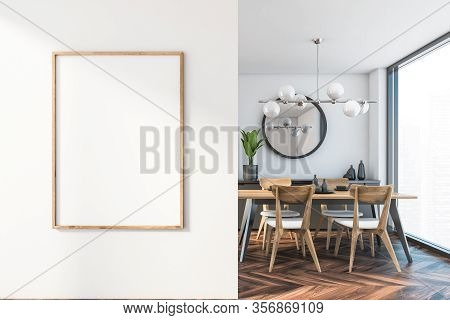 Vertical Mock Up Poster Frame Hanging On White Wall In Stylish Dining Room With White Walls, Dark Wo