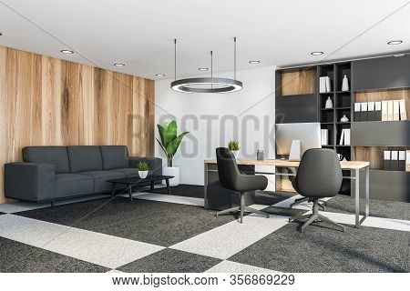 Luxury Ceo Office Corner With White And Wooden Walls, Carpeted Floor, Computer Desk With Bookcase An