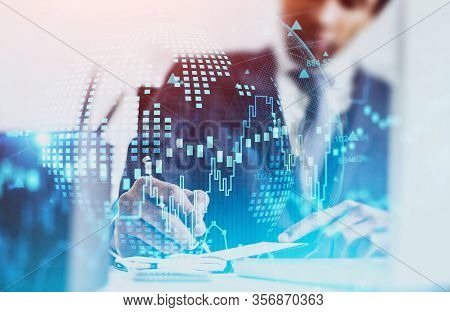 Unrecognizable African American Businessman Making Notes In Blurry Office With Double Exposure Of Fi