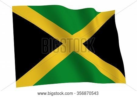 Jamaica Flag, 3d Render. Flag Of Jamaica Waving In The Wind, Isolated On White Background.