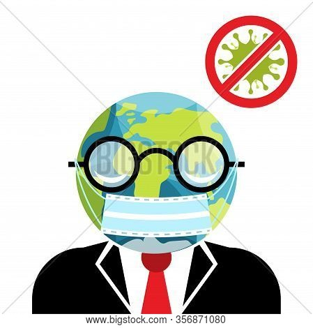 Covid-19. Vector Illustration Of Global News About Coronavirus Pandemic With Eath Globe Shaped Head