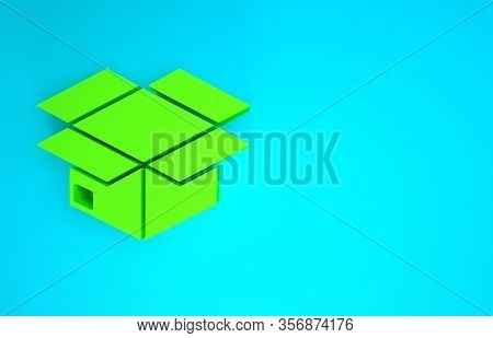 Green Carton Cardboard Box Icon Isolated On Blue Background. Box, Package, Parcel Sign. Delivery And