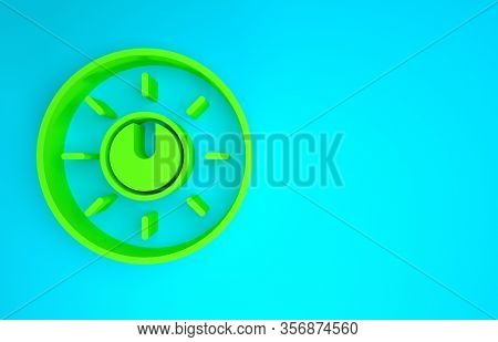 Green Dial Knob Level Technology Settings Icon Isolated On Blue Background. Volume Button, Sound Con